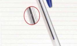 Para que serve o furo lateral da caneta BIC?